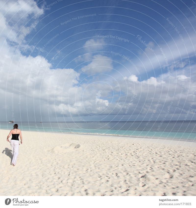 Woman Sky Ocean Blue Summer Beach Vacation & Travel Calm Clouds Loneliness Relaxation Sand Tourism Travel photography Asia Idyll