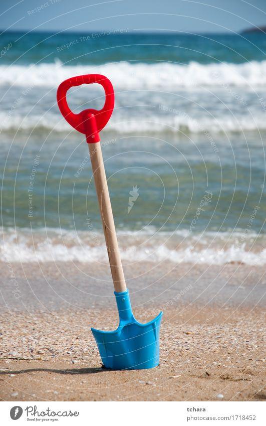 Play on the beach Joy Leisure and hobbies Vacation & Travel Summer Beach Ocean Child Tool Infancy Sand Sky Coast Toys Plastic Bright Blue White Colour
