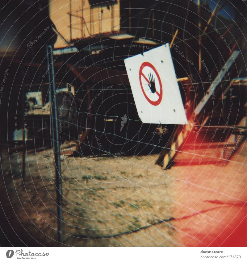 Speak, Intruder! Signs and labeling Signage Warning sign Red White Fence Wire netting fence Excavator Diana Medium format Roll film Lomography Hand