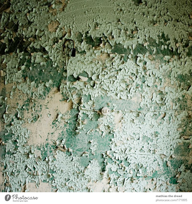 Old Green House (Residential Structure) Wall (building) Wall (barrier) Building Facade Empty TV set Cable Factory Wallpaper Decline Turquoise Ruin
