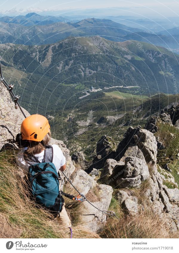 Climbing sport: young boy takes a rest observing panorama Human being Child Nature Vacation & Travel Summer Landscape Loneliness Mountain Lanes & trails Sports