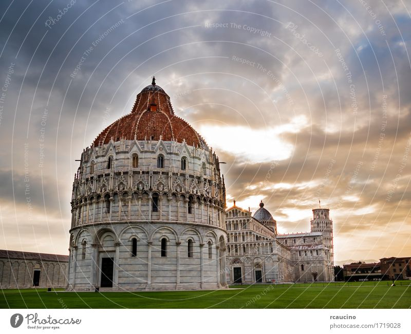 Piazza dei Miracoli; leaning tower of Pisa, Italy Vacation & Travel Old White Architecture Building Art Tourism Vantage point Europe Church Places Culture
