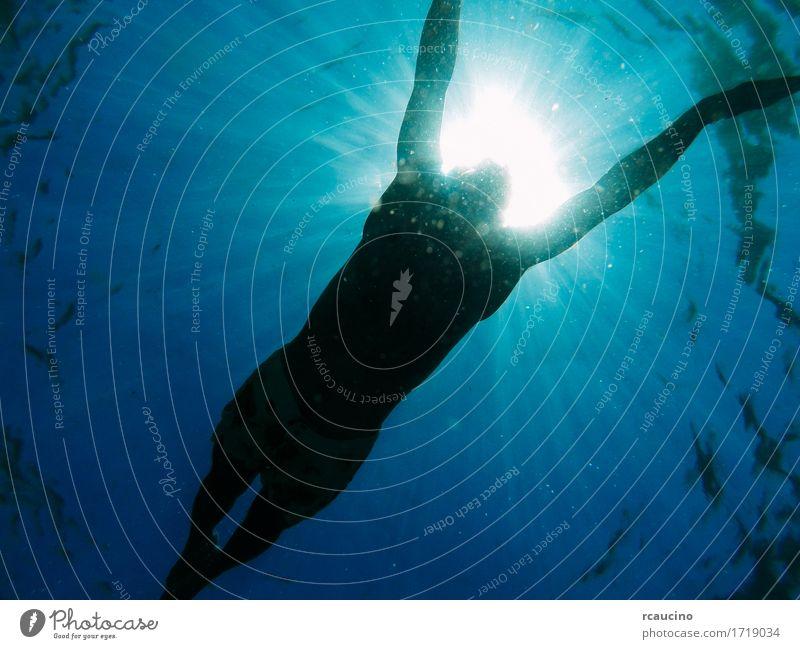 Man swimming in the sea with sunbeams shining through Swimming & Bathing Ocean Water Sun Sunbeam Underwater photo Blue Colour photo