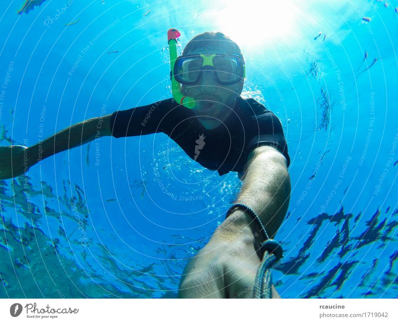 Freediving: self-portrait of a male freediver Lifestyle Summer Ocean Sports Dive Human being Man Adults Nature Under Blue water Snorkeling swimming Breath below