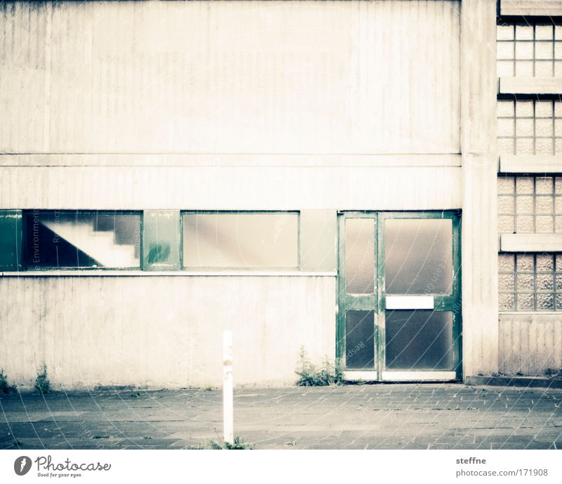 Wall (building) Wall (barrier) Building Architecture Door School building Facade Stairs Retro Factory Transience Industrial plant Gymnasium