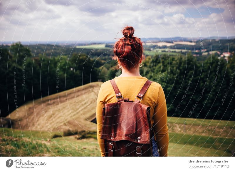 Human being Woman Nature Vacation & Travel Summer Landscape Relaxation Far-off places Mountain Adults Meadow Feminine Freedom Tourism Horizon Dream