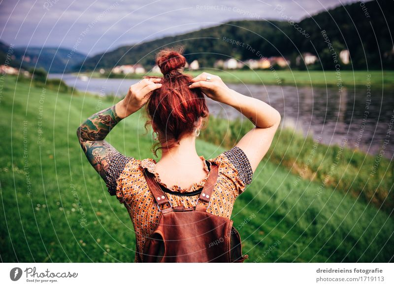 Wanderlust. Homesick. Vacation & Travel Tourism Trip Adventure Far-off places Freedom Summer Human being Feminine Woman Adults 1 Landscape River bank Elbe