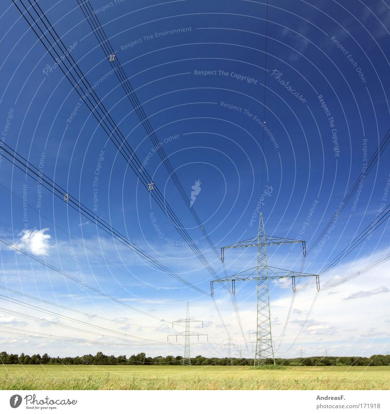 Sky Landscape Field Energy Industry Energy industry Electricity Network Cable Beautiful weather Electricity pylon Power transmission Transmission lines