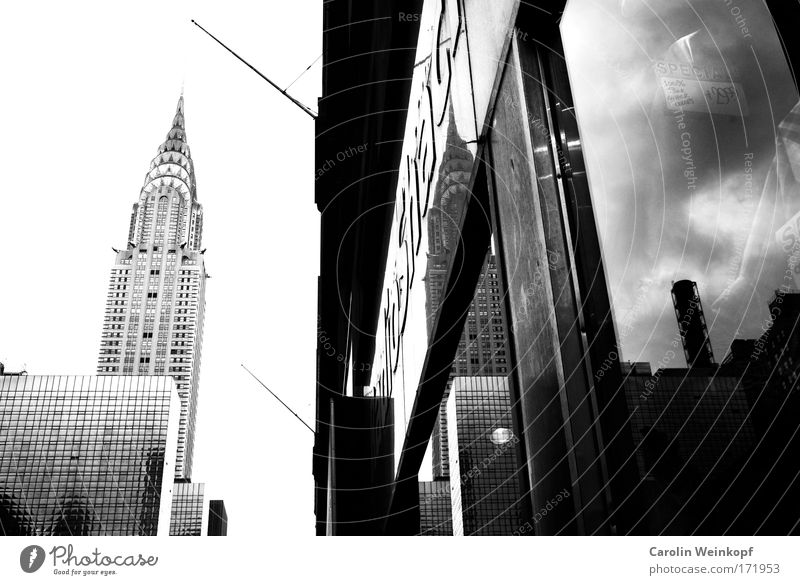 Grand Central. Black & white photo Exterior shot Deserted Copy Space left Day Light Shadow Contrast Silhouette Reflection Deep depth of field Worm's-eye view