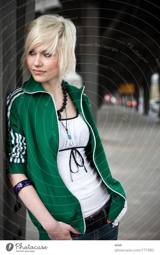 Human being Youth (Young adults) City Green Beautiful Young woman 18 - 30 years Adults Street Feminine Style Elegant Blonde Authentic Stand Woman