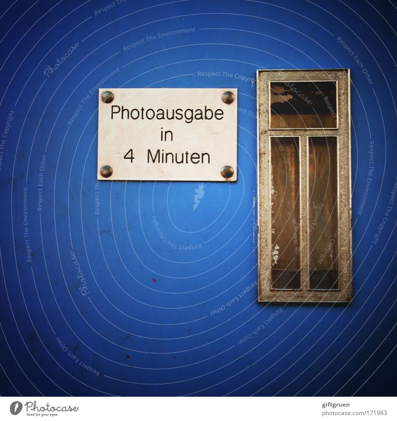 4 minutes Colour photo Deserted Services Photographer Photography Photo booth Vending machine Blue Wait Automatic Passport photograph Slit Completed