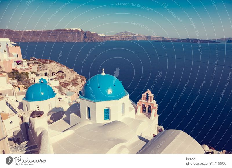 Blue-White Vacation & Travel Tourism Summer Ocean Island Santorini Fira Greece Capital city Old town House (Residential Structure) Wall (barrier)