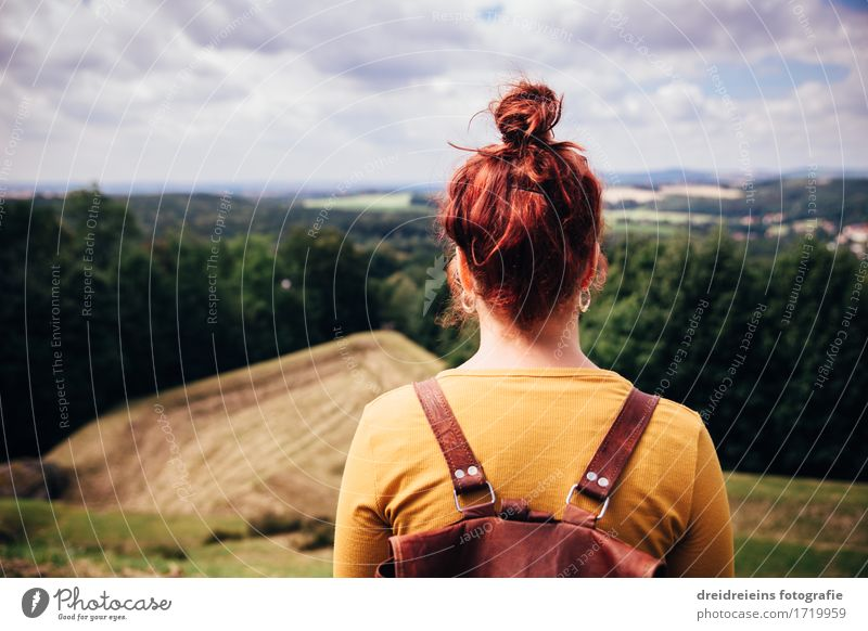 Nature Vacation & Travel Landscape Far-off places Forest Mountain Meadow Feminine Freedom Above Horizon Dream Hiking Trip Success Observe
