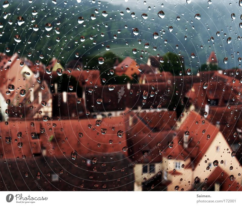 bad weather Subdued colour Exterior shot Wide angle Drops of water Climate Weather Bad weather Storm Rain House (Residential Structure) Roof Wet Gloomy Safety