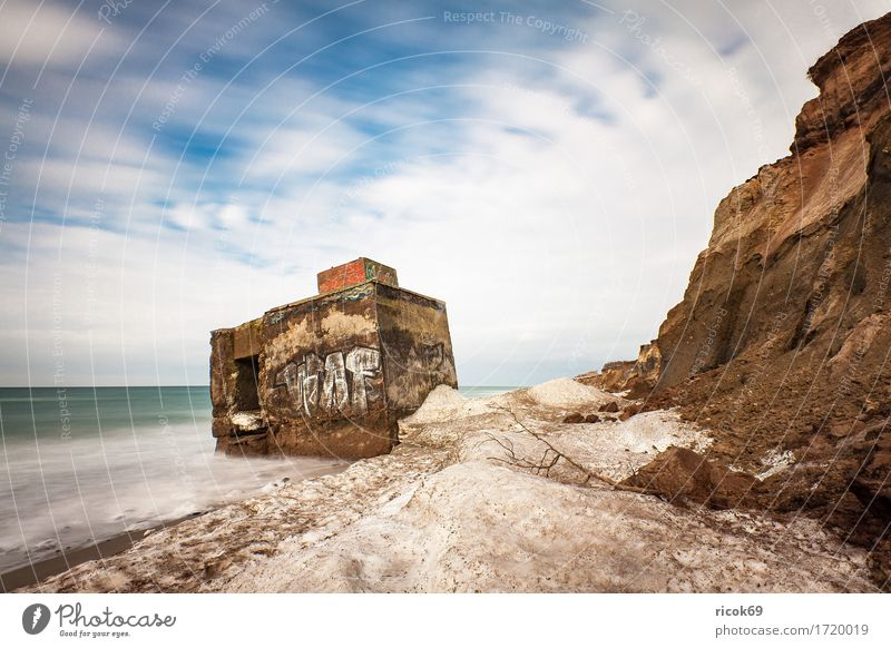 Bunker at the Baltic Sea coast near Wustrow Tourism Beach Ocean Winter Water Clouds Coast Ruin Historic Cold War Nature Vacation & Travel Dugout Baltic coast