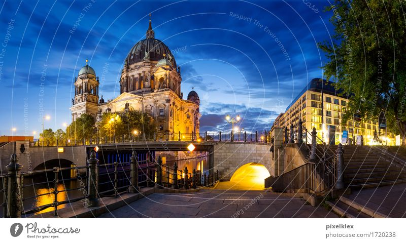 Panoramic view of the Berlin Cathedral Vacation & Travel Tourism Sightseeing City trip Summer Night life Night sky River Spree Downtown Berlin Germany Town