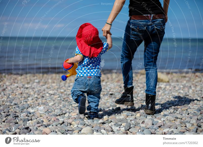 Human being Vacation & Travel Youth (Young adults) Young woman Ocean Joy Beach Adults Movement Family & Relations Happy Together Joie de vivre (Vitality) Adventure Protection Mother