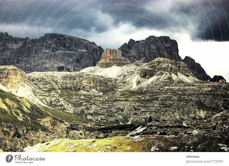 three cobblers Colour photo Exterior shot Deserted Day Forward Nature Landscape Sky Clouds Storm clouds Bad weather Thunder and lightning Alps Mountain Peak