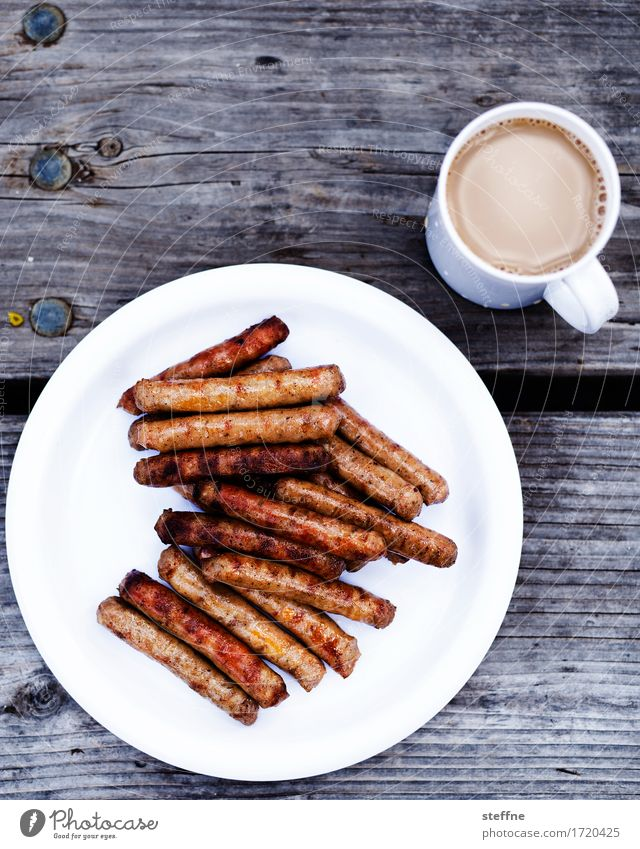 men's breakfast Food Sausage Breakfast Hot drink Coffee Plate Mug Eating Bratwurst Barbecue (event) morning coffee Unhealthy Heart attack Nutrition Colour photo