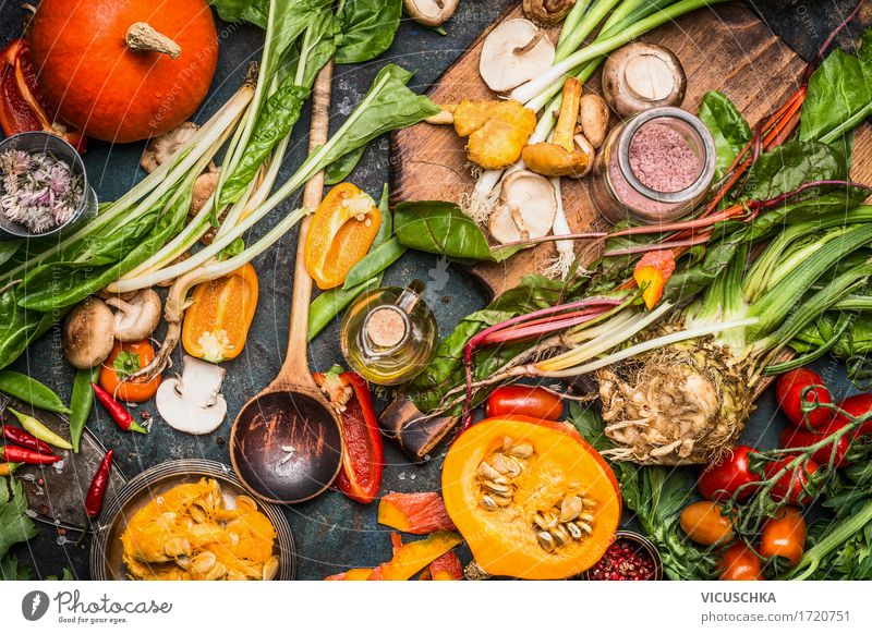 Pumpkins and various autumn vegetables Food Vegetable Herbs and spices Cooking oil Nutrition Organic produce Vegetarian diet Diet Crockery Plate Bowl Spoon