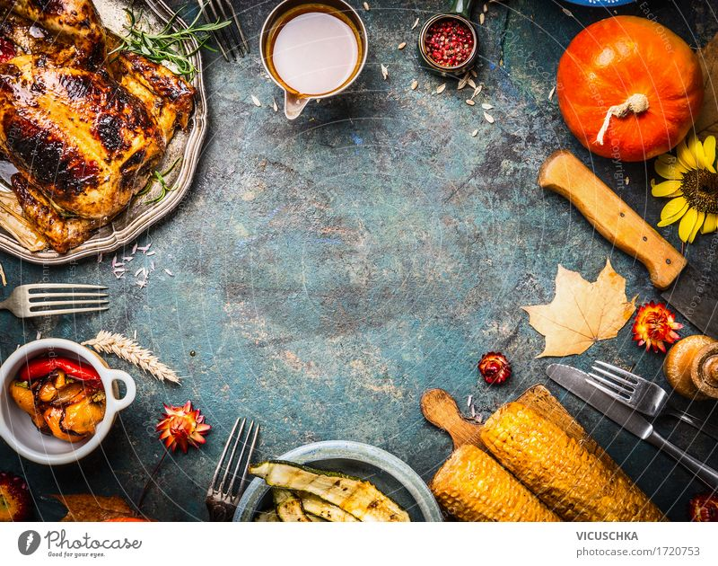 Autumn cooking with chicken, pumpkin and vegetables Food Meat Vegetable Herbs and spices Cooking oil Nutrition Banquet Crockery Cutlery Style Design