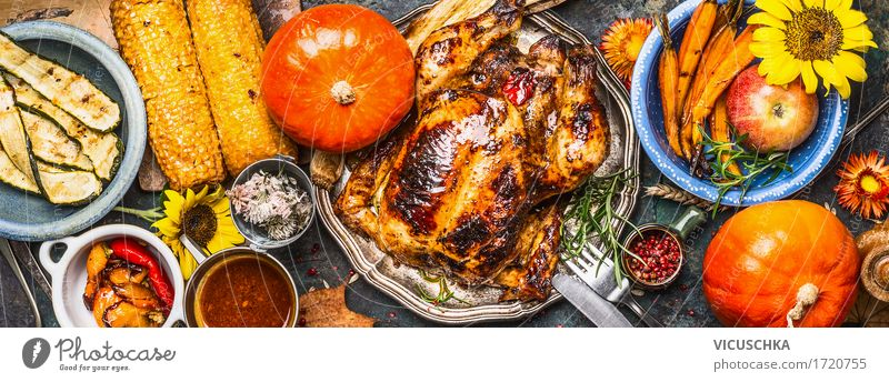 Various grilled vegetables, fried chicken and pumpkin Food Meat Vegetable Herbs and spices Cooking oil Nutrition Banquet Organic produce Crockery Plate Bowl