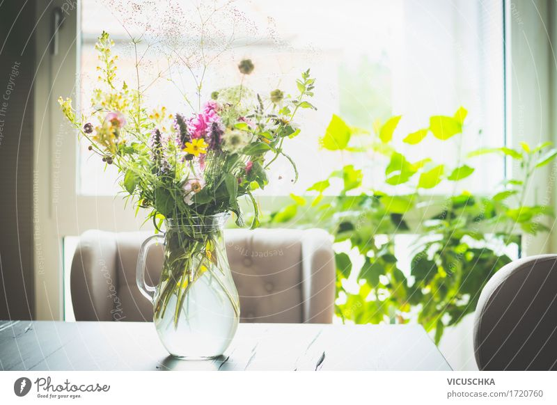 Bouquet of flowers in a glass vase on the table in front of a window Lifestyle Style Summer Living or residing Flat (apartment) House (Residential Structure)