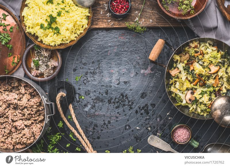 Steamed savoy cabbage and mushrooms with rice and minced meat Food Meat Vegetable Herbs and spices Nutrition Lunch Dinner Organic produce Crockery Bowl Pot
