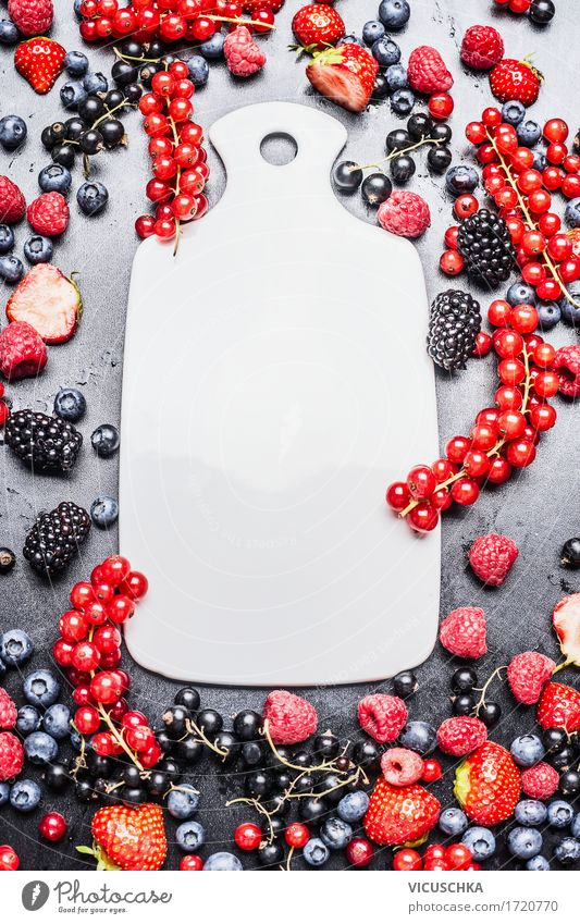 White chopping board and fresh summer berries Food Fruit Nutrition Breakfast Organic produce Vegetarian diet Diet Style Design Healthy Eating Life Summer Table