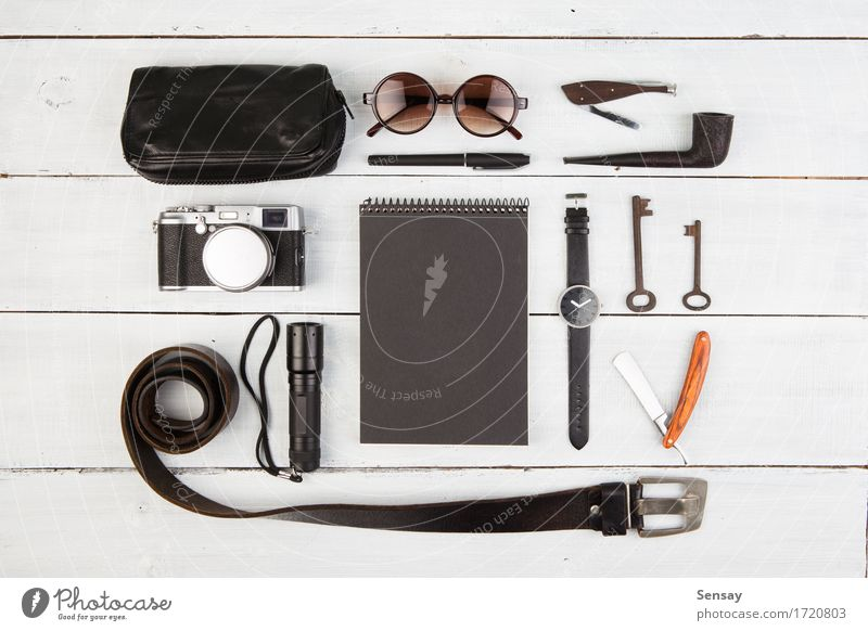 Travel concept - set of cool men's stuff Style Vacation & Travel Tourism Trip Desk Table Business Camera Fashion Leather Accessory Sunglasses Pack Pen Wood Old