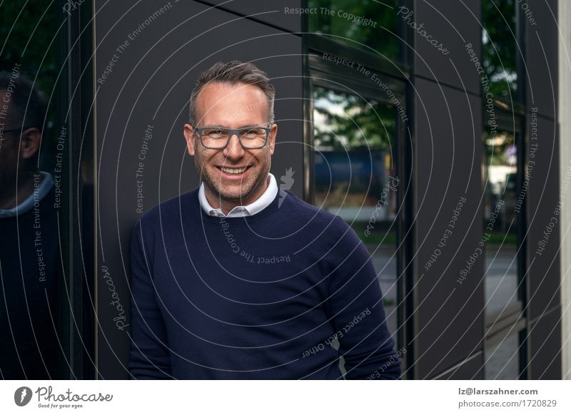 Smiling middle-aged man with eyeglasses Human being Man Face Adults Happy Business Masculine Copy Space Eyeglasses Friendliness Businessman Lean 30 - 45 years