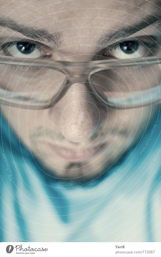 Human being Man Youth (Young adults) Blue Face Calm Eyes Head Think Mouth Adults Masculine Eyeglasses Lips Serene Curiosity