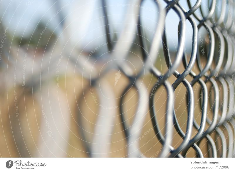 Gray Metal Signs and labeling Perspective Industry Safety Arrangement Near Threat Construction site Protection Strong Steel Fence Chain Captured