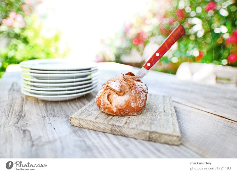 Fresh bread in the summer garden Bread Roll Nutrition Lunch Organic produce Slow food Crockery Plate Knives Lifestyle Style Contentment Feasts & Celebrations