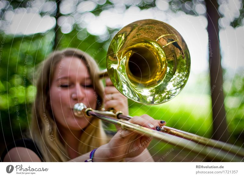 Jacki and the trombone Leisure and hobbies Playing Human being Feminine Young woman Youth (Young adults) 1 18 - 30 years Adults Environment Nature Forest
