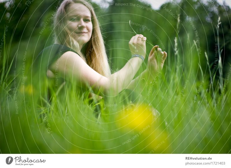 Jacki in the meadow. Human being Feminine Young woman Youth (Young adults) 1 18 - 30 years Adults Environment Summer Flower Grass Meadow Hair and hairstyles