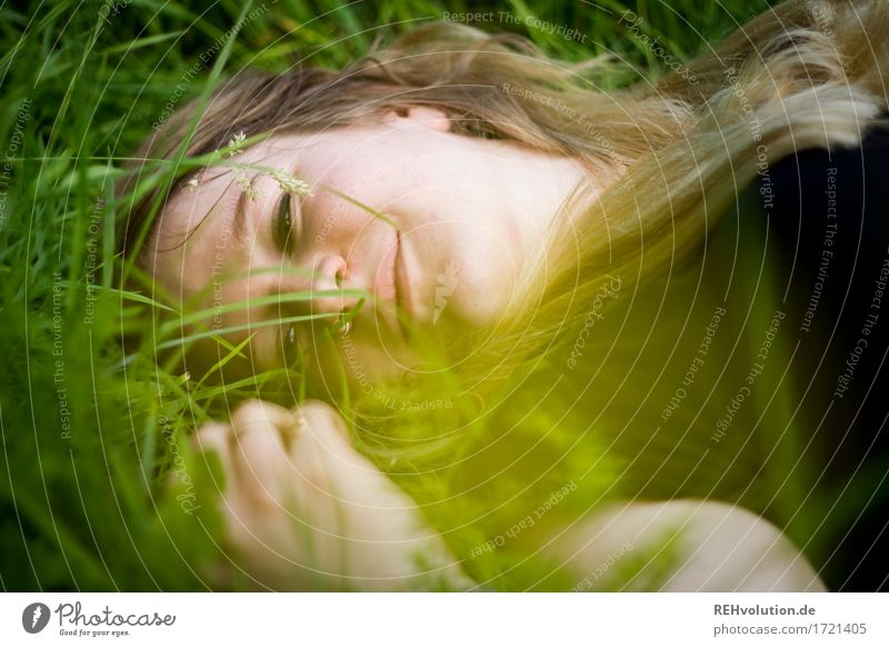 Jacki in the grass. Human being Feminine Young woman Youth (Young adults) Face 1 18 - 30 years Adults Environment Nature Plant Grass Meadow Blonde Long-haired