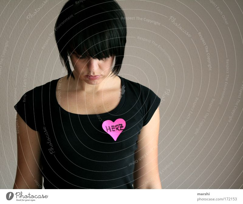 Woman Human being Love Loneliness Feminine Emotions Dream Head Sadness Moody Heart Wait Adults Pink Stand Passion