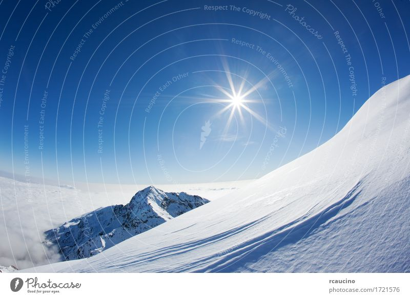 Snowy mountain landscape in a winter clear day, the Alps Sky Nature Blue White Sun Landscape Winter Mountain Europe Italy Horizontal Valley Clear sky