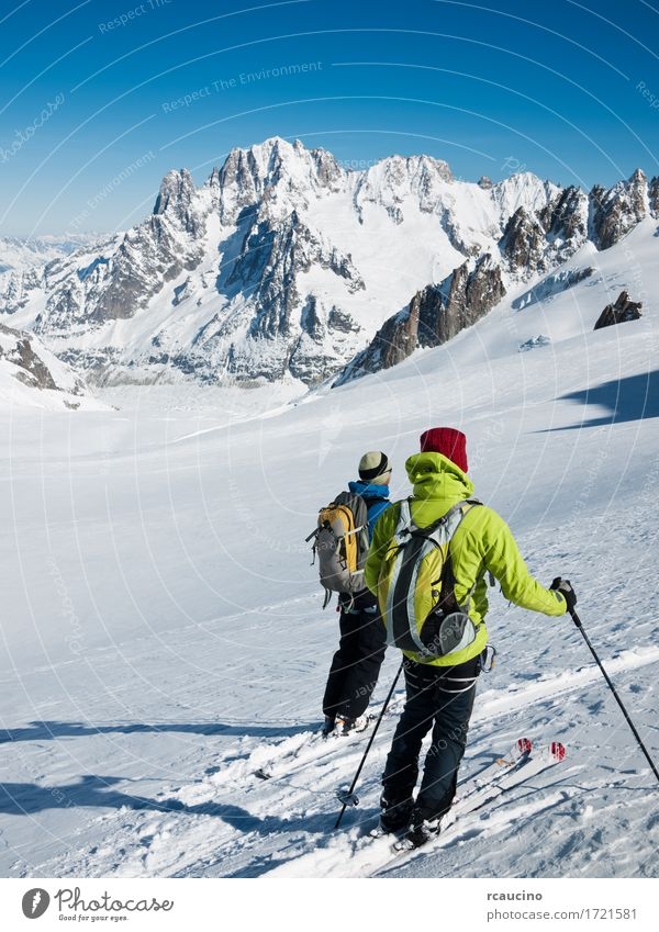Mountain touring skiers. Mont Blanc, Chamonix, France Sky Nature Vacation & Travel Man Green White Landscape Winter Adults Sports Snow Rock Stand Vantage point