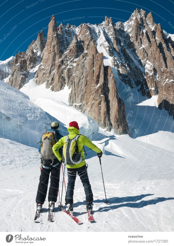 Mountain touring skiers in front of Mont Blanc, France Sky Nature Vacation & Travel Man Green White Landscape Winter Adults Sports Snow Rock Stand Vantage point