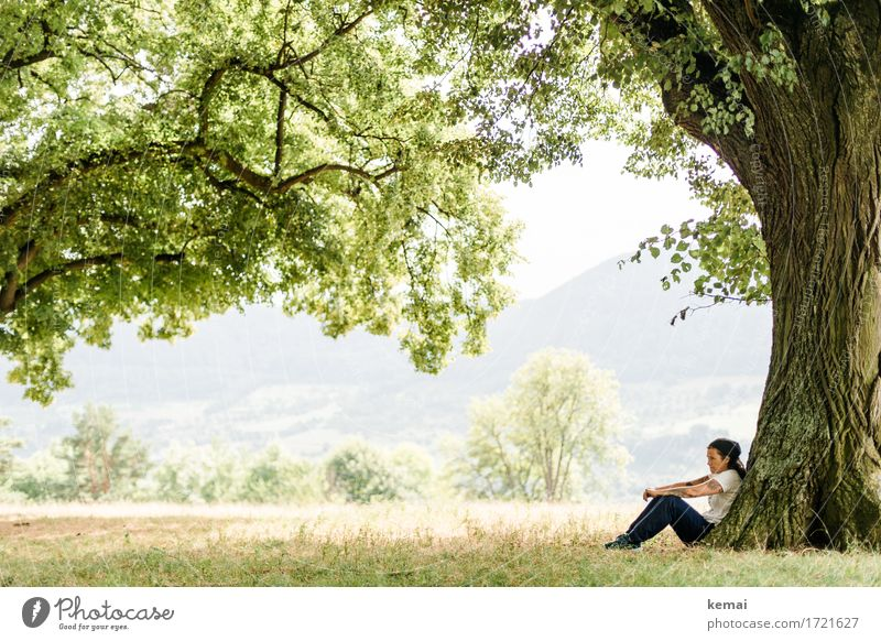 Human being Woman Nature Vacation & Travel Summer Green Tree Relaxation Loneliness Calm Adults Life Lifestyle Sadness Meadow Freedom