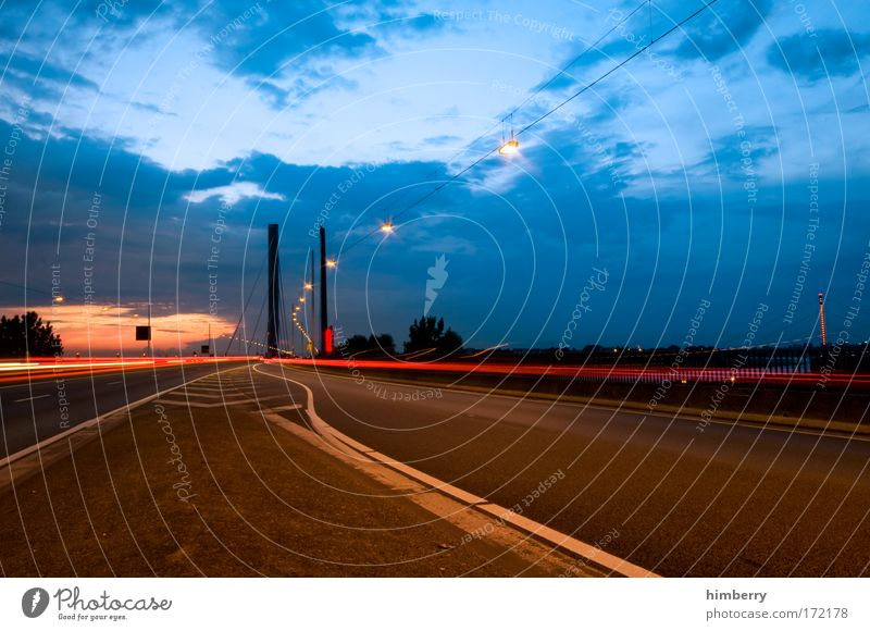 Sky Street Movement Energy industry Transport Speed Bridge Logistics Traffic infrastructure Highway Passenger traffic Motoring Crossroads Night sky Road traffic Sunset