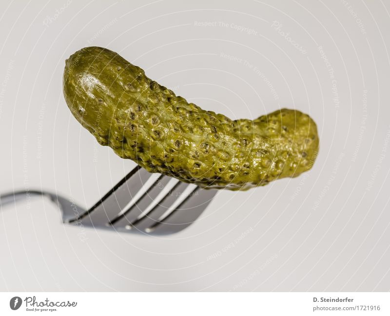 gherkins Food Vegetable Eating Fork Sign Delicious Sour Green White Competent Fiasco Cucumber Impaled concept lame sluggish Colour photo Close-up Abstract