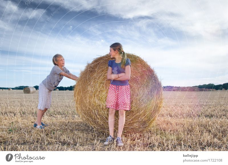 Human being Child Nature Summer Clouds Joy Girl Environment Life To talk Boy (child) Family & Relations Playing Laughter Field Communicate