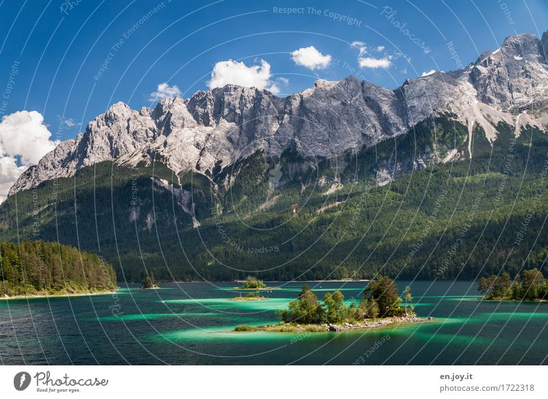 dream landscape Vacation & Travel Trip Summer Summer vacation Mountain Nature Landscape Sky Beautiful weather Forest Rock Alps Zugspitze Island Lake Eib Lake
