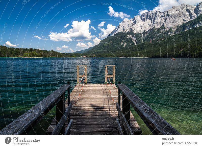 Missed Vacation & Travel Tourism Trip Adventure Summer Summer vacation Mountain Nature Landscape Alps Zugspitze Lake Eib Lake Germany Bavaria Blue Wanderlust