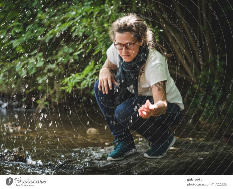 Swabian outing | freshmai Trip Adventure Summer Human being Feminine Woman Adults Life 1 Environment Nature Water Drops of water Beautiful weather River bank