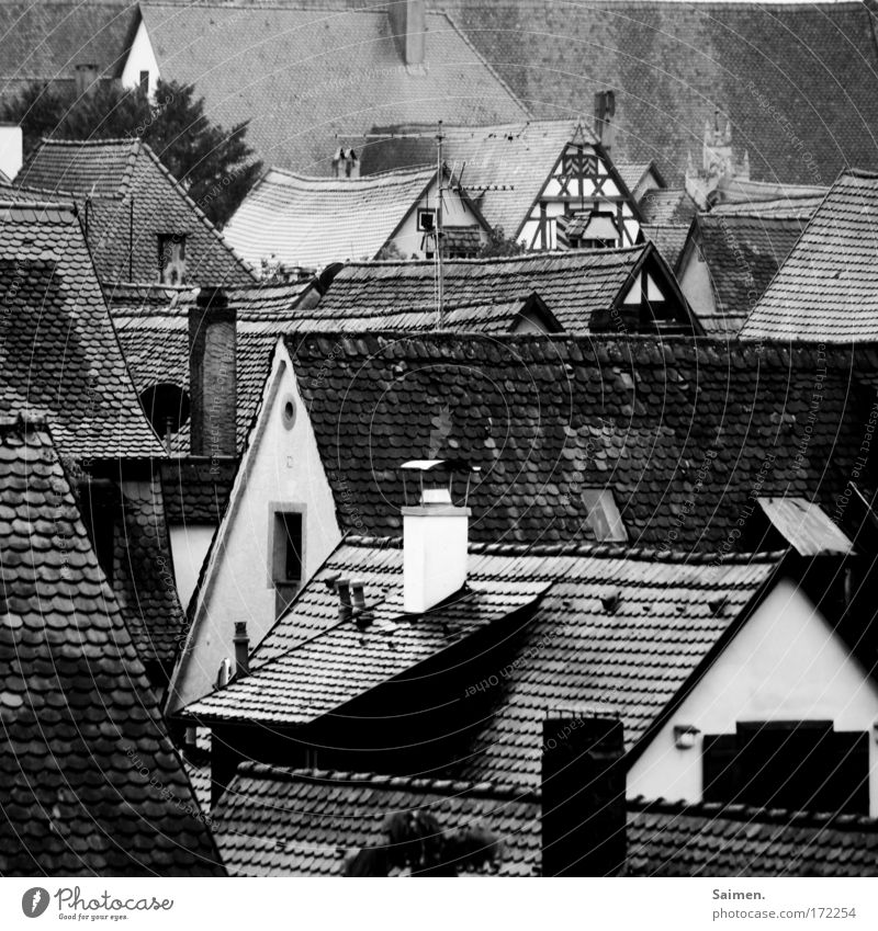 Lauda Däscha Black & white photo Exterior shot Detail Structures and shapes Town Old town House (Residential Structure) Building Roof Gloomy Rain Wet