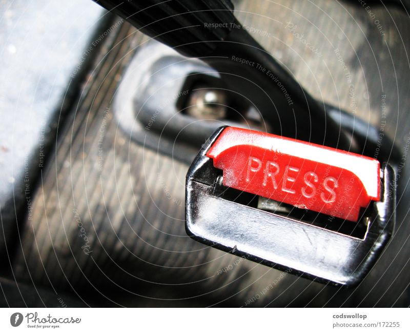 """""""Clunk Click Every Trip. Colour photo Interior shot Close-up Detail Copy Space left Interior design Motoring Vehicle Car Plastic Characters Driving Red Black"""
